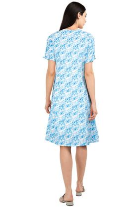 Womens V Neck Printed Shift Dress