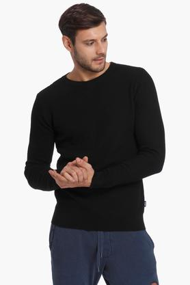 JACK AND JONES Mens Round Neck Solid Sweater