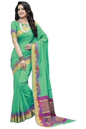 ASHIKA Plain Cotton Silk Saree With Blouse Piece