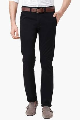 PETER ENGLAND Mens Extra Slim Fit 4 Pocket Solid Chinos