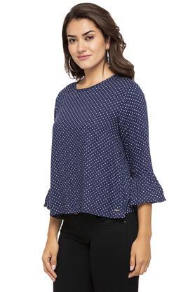 Womens Round Neck Dot Pattern Top