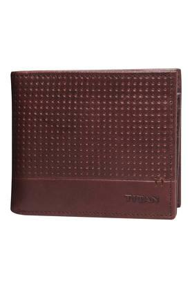 TITANMens Leather 1 Fold Smart Wallet - Brown