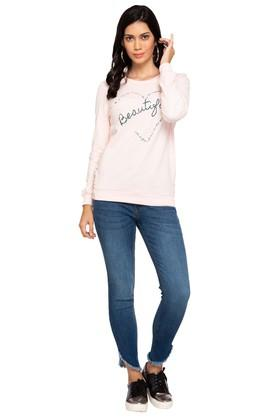 Womens Round Neck Printed Embellished Sweatshirt