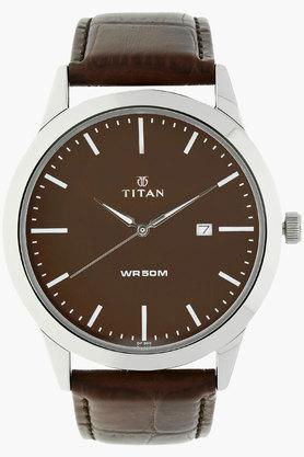 TITANMens Brown Dial Leather Watch - NJ1584SL04
