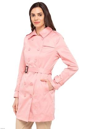 Womens Collared Solid Trenchcoat