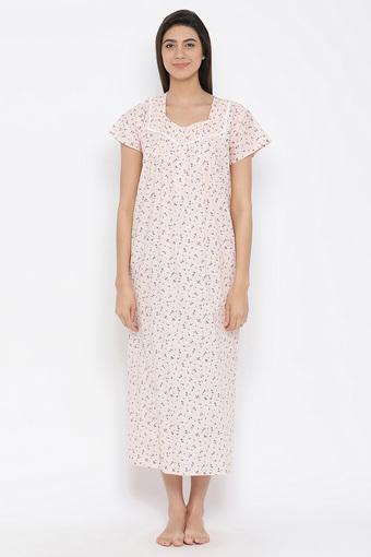 Womens Square Neck Floral Print Night Gown
