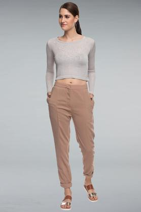 Women 2 Pocket Solid Pants