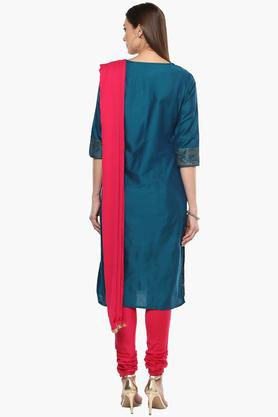 Womens Notched Neck Embroidered Churidar Suit