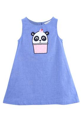 Girls Round Neck Panda Applique A-Line Dress