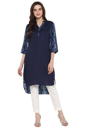 JUNIPER Womens Front Solid Back Printed High Low Kurta With Pant