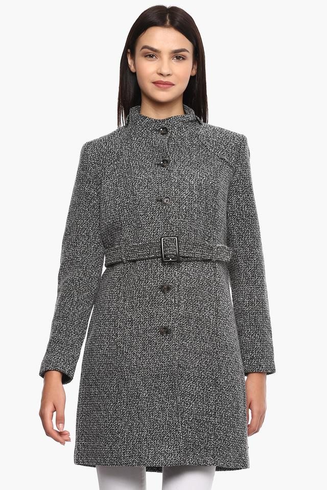 Womens High Neck knitted Pattern Trenchcoat