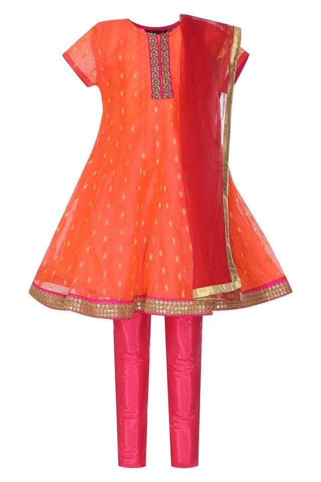 Girls Round Neck Embellished Churidar Suit