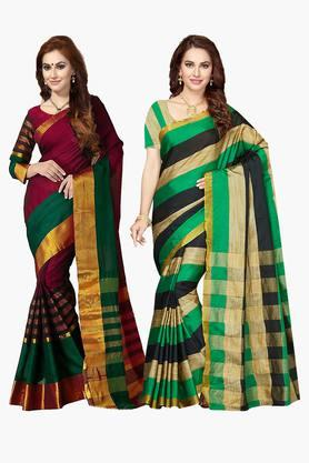ISHIN Womens Bhagalpuri Art Silk Printed Saree - Set Of 2 - 203260388