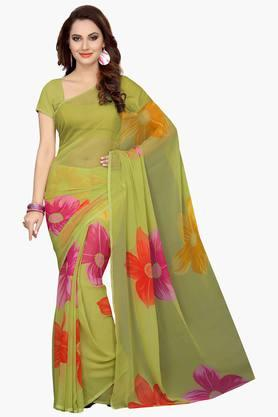 ISHIN Womens Faux Georgette Floral Printed Saree - 203260319