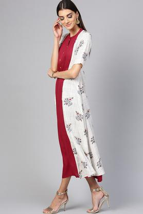 Womens Mandarin Collar Solid A-line Dress with Printed Ethnic Long Shrug
