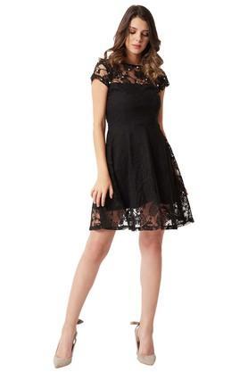 Womens Slim Fit Round Neck Lace Sheer Yoke Skater Dress