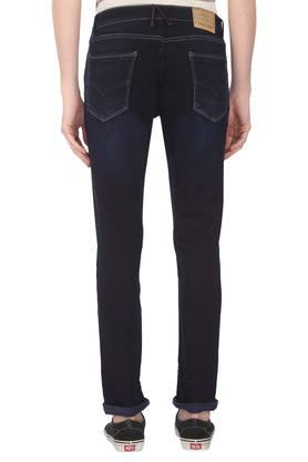 Mens Skinny Fit 5 Pocket Whiskered Effect Jeans
