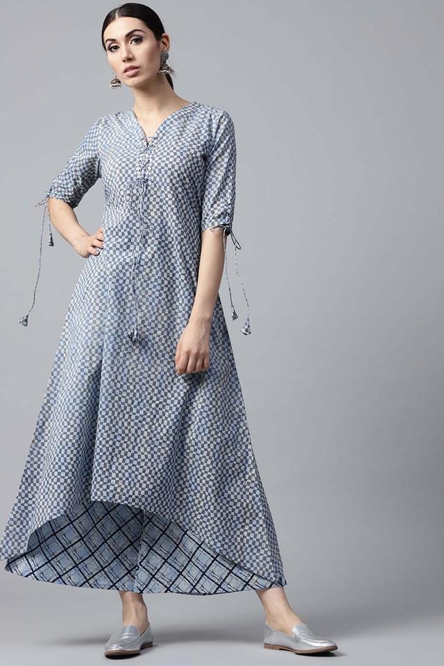 Women Cotton Checks Aline Kurta With Cotton Printed Palazzo