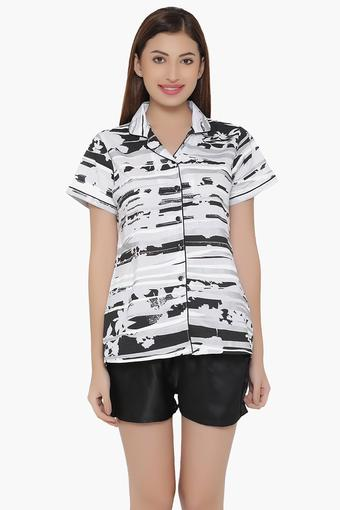 Womens Printed Shirt & Solid Shorts