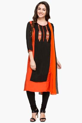 IMARA Womens Round Neck Colour Block Churidar Suit