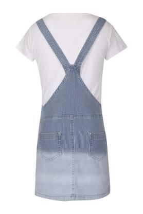 Girls Round Neck Striped Dungaree and Tee Set