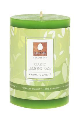 Round Lemongrass Aromatic Pillar Candle