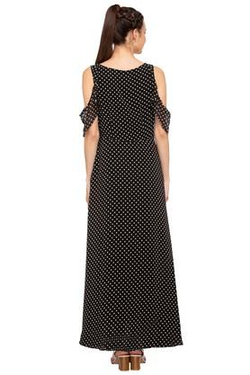 Womens Round Neck Dot Pattern Maxi Dress