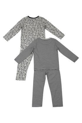 Boys Round Neck Printed and Striped Pants and Tee - Pack of 2