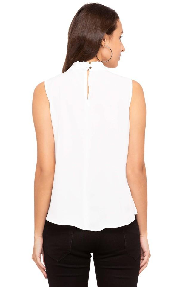 Womens Tie Up Neck Solid Top