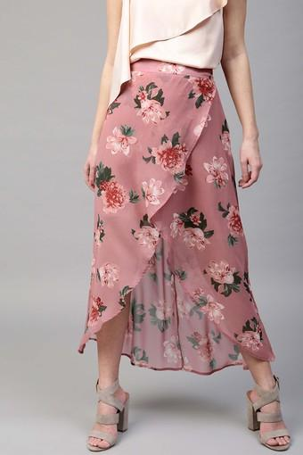 Womens Floral Print High Low Skirt