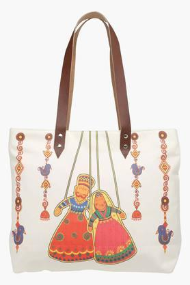 Canvas Printed Dancing Puppet Shopping Bag with Leather Handle