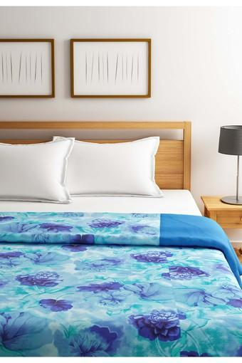 Blue and Navy Blue Floral Double AC Comfortor