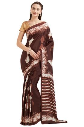 JASHN Womens Brown Abstract Print Crepe Saree
