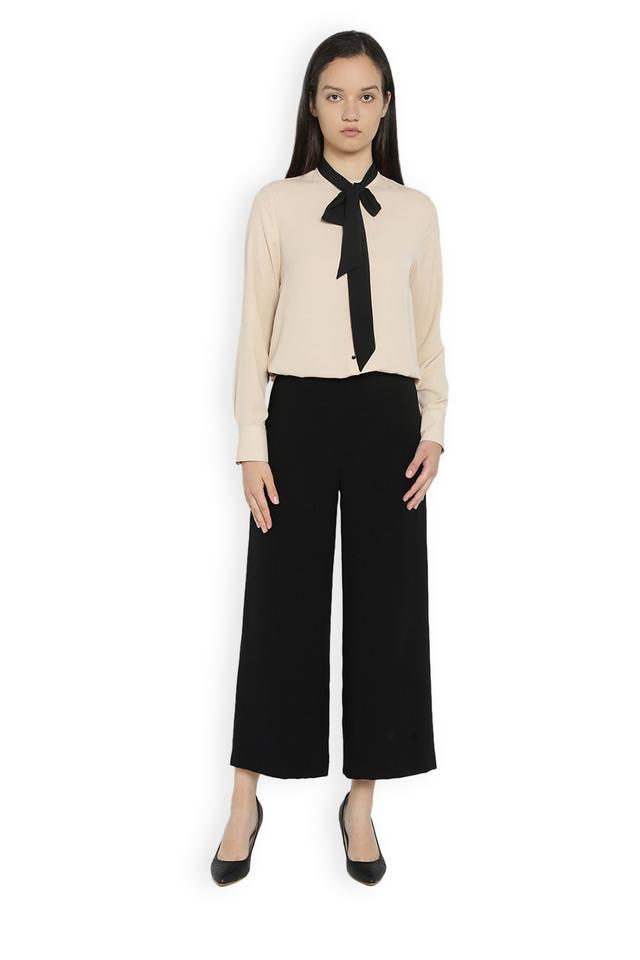 Womens Solid Regular Fit Pants