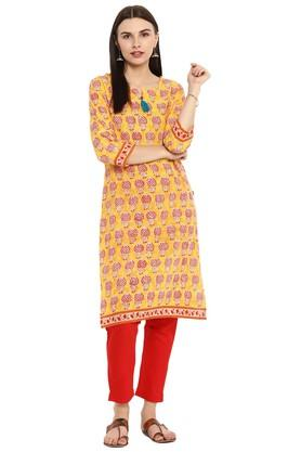 JUNIPER Womens Slub Ethnic Print Kurta With Tassels
