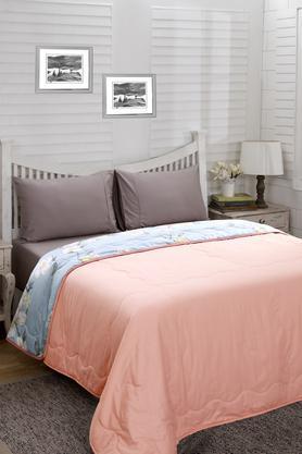 Essence Floral Brielle Blue Printed Cotton 100 GSM Double Quilt