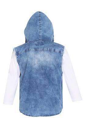 Boys Hooded Neck Washed Shirt With Tee