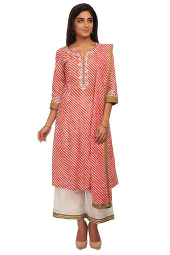 aaefc2ff459 Buy BIBA Womens Notched Neck Lehriya Print Palazzo Suit