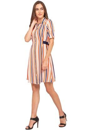 Womens Collared Stripe Shirt Dress