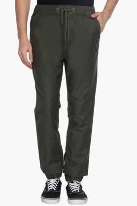 WROGNMens Solid Mid Rise Joggers