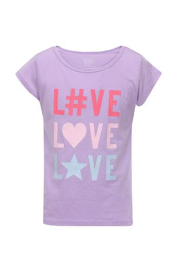 Girls Round Neck Graphic Print Tee