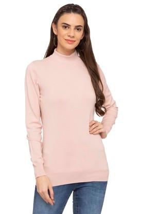 109F Womens High Neck Solid Sweater