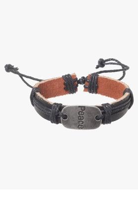 Mens Metallic Dime Leather Bracelet