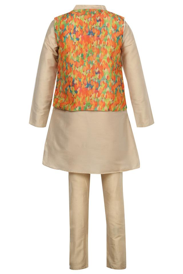 Boys Mandarin Collar Printed Kurta Pyjama and Jacket Set