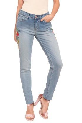 Womens 5 Pocket Mild Wash Embroidered Jeans