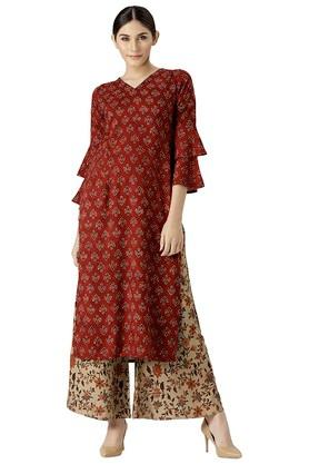 Womens Rayon Printed Kurta And Palazzo