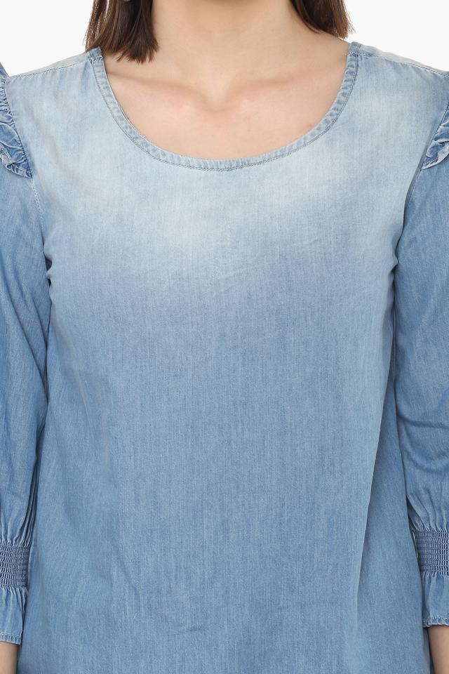 Womens Round Neck Washed Top