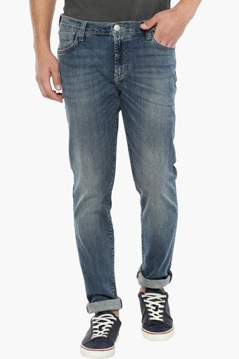 Mens 5 Pocket Heavy Wash Jeans