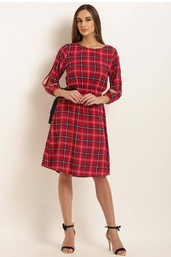 Womens Round Neck Check Skater Dress