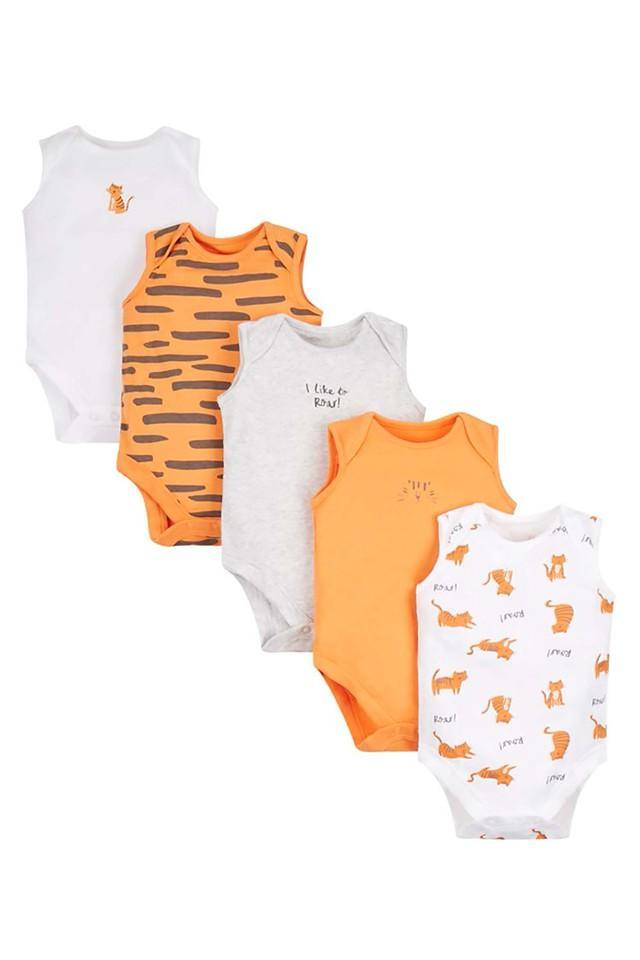 Boys Round Neck Printed and Slub Babysuit - Pack of 5
